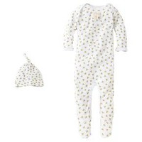 Burt's Bees Baby™ Newborn Bee Essentials Coverall & Hat Set - White 3-6M