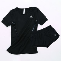 Adidas Women Casual Sport Gym Shirt Shorts Set Two-Piece Sportswear