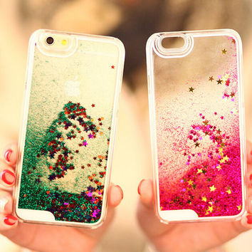 Shining Quicksand Stars iPhone 5s 6 6s Plus Samsung Galaxy S6 Case Cover Gift-158