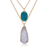 New Arrival Jewelry Stylish Shiny Gift Water Droplets Gemstone Pendant Sweater Chain Accessory Necklace [8581975879]