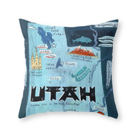 Society6 UTAH Throw Pillow