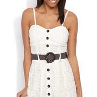 Daisy Lace Skater Dress with Bra Bodice and Button Front