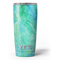 Green and Gold Watercolor Polka Dots - Skin Decal Vinyl Wrap Kit compatible with the Yeti Rambler Cooler Tumbler Cups