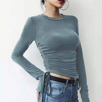 Autumn women's new long-sleeved T-shirt bottoming shirt female Slim pleated short top