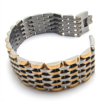 Gray & Gold Colored Titanium Steel Bracelet for Men's Wrist Apparel