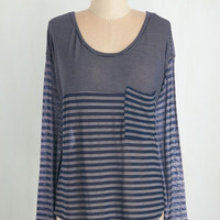 Nautical Mid-length Long Sleeve Train of Events Top