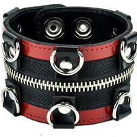 "Red Trim D Rings with Zipper Wristband Leather Bracelet 2"" Wide"