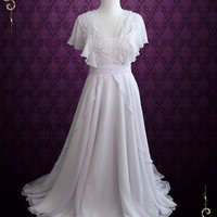 Whimsical Grecian Chiffon Wedding Dress with Butterfly Sleeves | Katie