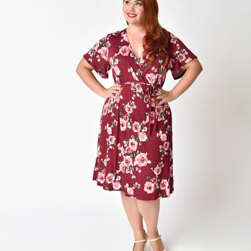 Vintage Style Plus Size Burgundy & Pink Floral Short Sleeve Wrap Dress