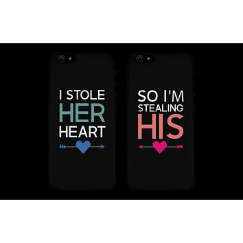 I Stole Her Heart So I'm Stealing His Matching Couple Black Phonecases (Set)