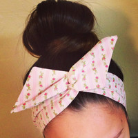 Light Pink Floral Dolly Bow Headband