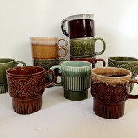 Japanese Stacking Mugs Collection Green and by vintage19something
