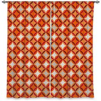 Window Curtain Lined By Julia Grifol Circles Red