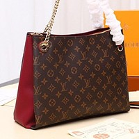 LV Louis Vuitton new product color matching printed letters ladies shopping shoulder bag diagonal bag Red