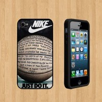 NIKE JUST DO IT QUOTE BASKETBALL Custom Case/Cover FOR Apple iPhone 5 BLACK Rubber Case ( Ship From CA )