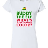 Buddy the Elf what your Favorite Color T-shirt Tshirt Tee Shirt Funny Christmas Gift xmas party Present Holiday Film Movie Festive Quote T10
