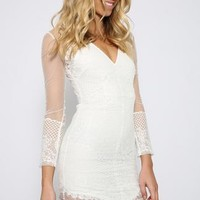 All Yours Dress - White Lace Dress Featuring Sheer Sleeves