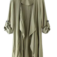 Olive Green Roll-up Sleeve  Asymmetric Hem Coat