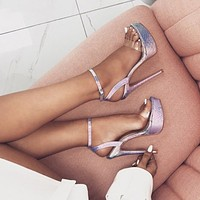 Silver Fashion Slippers Tights And Belts High Heels Gladiator Pointed Heels High Heels