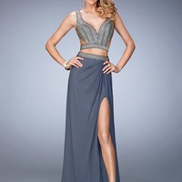 La Femme 22319 Trend Setting Studded Cut Out Two Piece Prom Dress