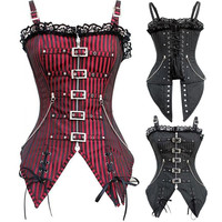 2016 New Fashion Striped Gothic Punk Steampunk Overbust Corset Waist Trainer Corsets And Bustiers  Plus size XXL body Shaper
