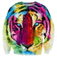 Watercolor Tiger Face Rainbow Graphic Print Unisex Pullover Sweater | Gifts for Animal Lovers