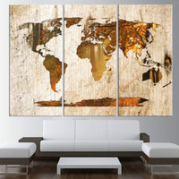 FOREST CANVAS  world map canvas art print, Large wall Art, rustic World Map wall art, extra large wall art, map of the world  t443