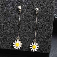 Fashion Sun Flower Long Drop Earrings For Women Simple Long Metal Dangling Earrings For Wedding Brincos