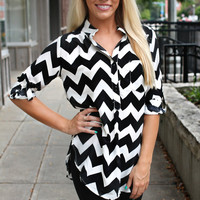 Don't Kill My Vibe Chevron Blouse - RESTOCKED