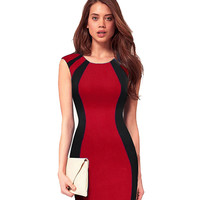 Summer Women's Contract ColorBlock Sleeveless Back Zipper Bodycon Dress Business Casual Wear to Work Sheath Pencil Dress