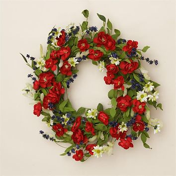 """Americana Daisies & Red White & Blue Blooms on 22"""" Twig Wreath"""