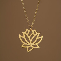 Lotus necklace - gold lotus flower - yoga necklace - blooming flower - a little 22k gold lotus flower on a 14k gold vermeil chain