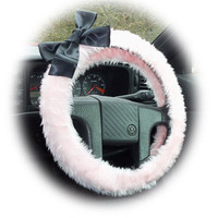 Baby Pink faux furry fur fuzzy fluffy car Steering wheel cover with Big black Bow