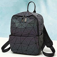 HotOne Geometric Backpack Holographic Reflective Backpacks Fashion Backpack (No.2 Large size)