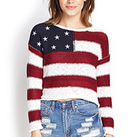 FOREVER 21 American Flag Sweater Cream/Red