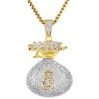 Men's Dollar Stash Money Bag Iced Out HipHop Pendant Chain