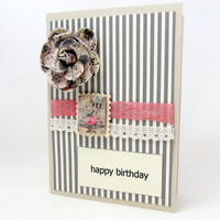 Vintage Style Birthday Card - Grey and Pink Card - Striped Birthday Card - Happy Birthday - Shabby Chic Birthday - Blank Card - Grey Stripes