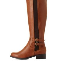 City Classified Elastic-Gored Riding Boots by Charlotte Russe - Tan