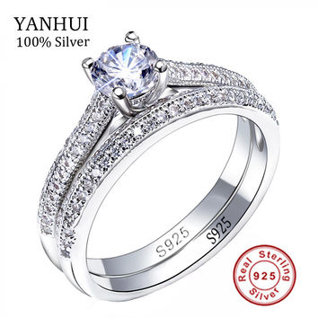 Victoria Wieck Real Solitaire 5mm Sona CZ Diamant Engagement Ring 925 Sterling Silver Women Wedding Ring Band Jewelry Size 4-10
