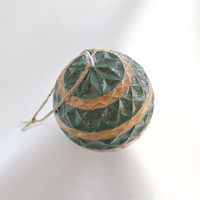 Carved Golf Ball, Christmas Ornament, Unique Golf Gift for Golfer, Golf Lover Gift for Men or Women, Green and Gold Christmas Ornament