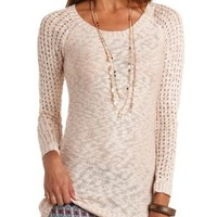 Pointelle Sleeve Slub Knit Tunic Sweater by Charlotte Russe