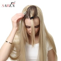 """SARLA 24"""" 170g U-Part Clip in Hair Extension Clip One Piece Long Straight & Wavy Full Head Natural False Synthetic Hairpieces"""