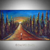 Landscape Oil Painting LARGE Original Artwork, ROAD Less TRAVELED 40x24 - Contemporary Art by BenWill