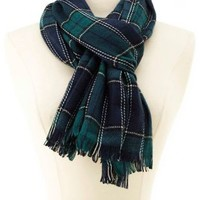 Plaid Fringe Wrap Scarf by Charlotte Russe - Multi