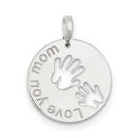 Sterling Silver Polished Love You Mom Pendant QC7522