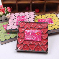 50pcs Colorful Real Heart Shape Candles Romantic Scented Wedding Reception Event For Home