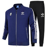 ADIDAS Clover autumn and winter new long-sleeved jacket running casual jacket two-piece Blue