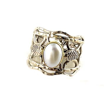Pearl Two Tone Vine Sterling Silver Band Ring