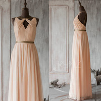 2015 Blush Bridesmaid dress, Peach Wedding dress, Metallic Trim Party dress, Long Formal dress, Prom Dress, Backless dress (F063A1)-Renzrags