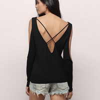 Long Sleeve Cutout V-neck Backless Strappy T-shirt